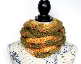 Finger Knit Necklace Scarf Brown and Orange Knit Infinity Scarf for Women Scarves with Button Chain Scarf Mothers Day from Daughter Gift Mom