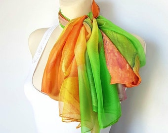 Floral scarfs for women Silk scarf women Large and long silk scarves for women Handmade womens scarf wrap 17 Best gifts for her birthday