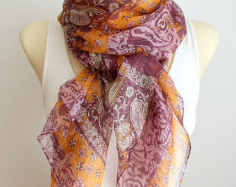 Purple Silk Scarf Pink Silk Scarf Floral Silk Scarf Silk Chiffon Scarf Pink and Orange Scarf for Women Spring Scarf Gift for Mother Outdoor