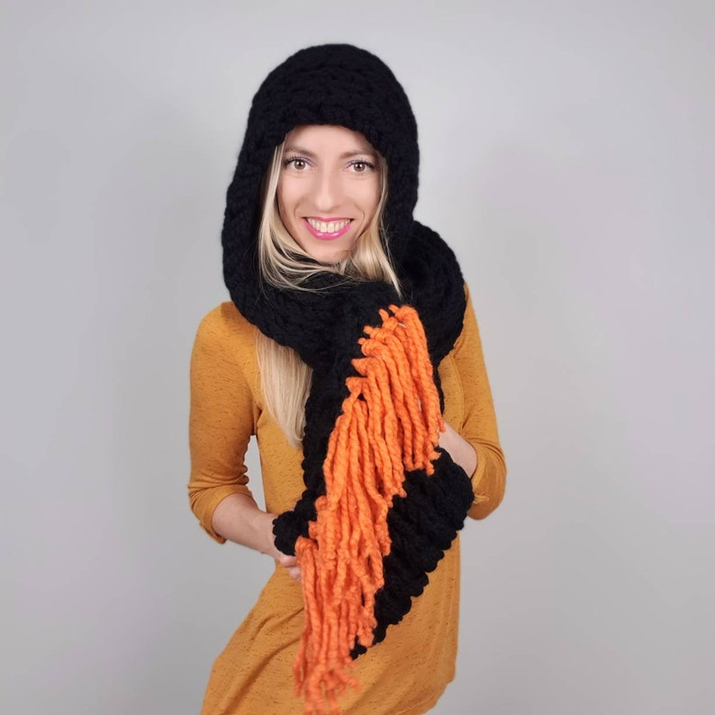 Hooded Scarf Women Giant Knit Scarf with Hood Oversized Winter Scarves for Women Knitted Shawl Hand Knit Snood Wool Scarf Unique gift