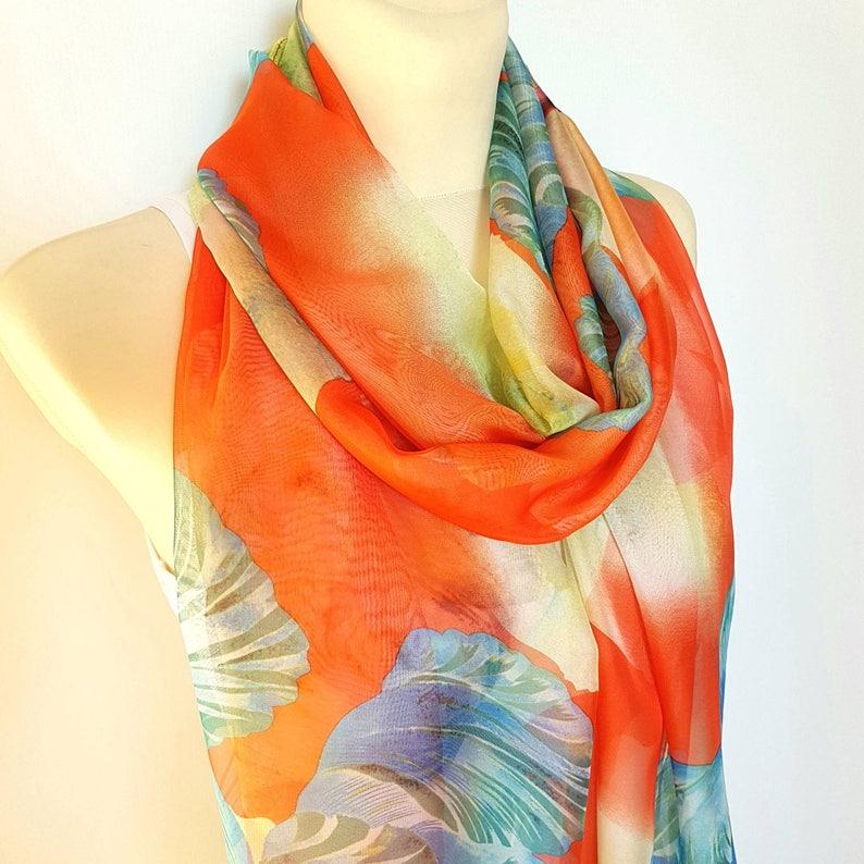8438080cfb5d Large Silk Scarf Women Boho Orange Silk Scarves for Women Silk