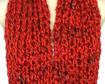 Red Knit Scarf Knit Infinity Scarf Winter Knit Scarf Chunky Knit Scarves Knitted Infinity Scarf Women Gift for Mom from Daughter from Son