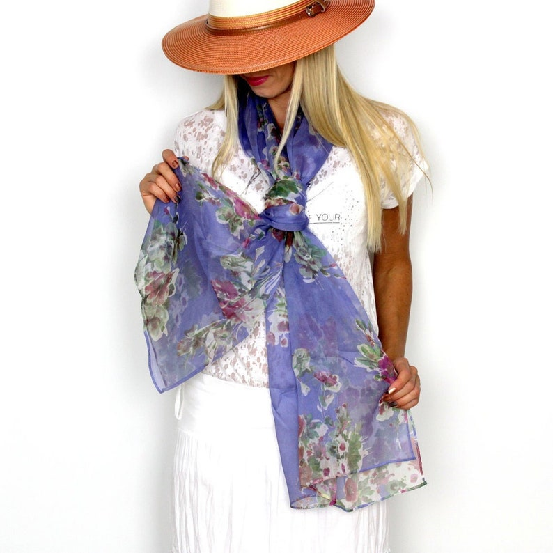 Floral scarfs for women Lightweight Silk scarf women Large and image 1