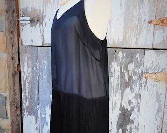 Gorgeous Flapper Era Styled Black Sheer Dress by Lorac Original Lady Carol sz XL