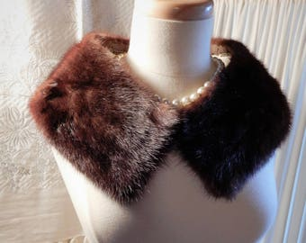 "Gorgeous Vtg 1950's Dark Mink Detachable Hooked Front Collar L 31"" x W 5 1/4"""