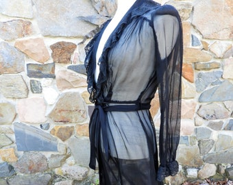085421dd239c 1930's Black Chiffon Robe, Art Nouveau Black Sheer Robe, Open Belted Dressing  Robe with Black Lace sz S