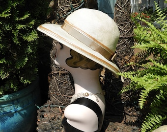 e3cfc90c Vtg Straw Sun Hat, Ladies Hat by Sandra New York, Summer Straw Hat, 1950's  Beige Hat C 20.5