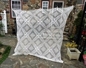 Vtg White Tablecloth, White Crocheted Tablecloth, Filet Work Table Cover 73 quot Square