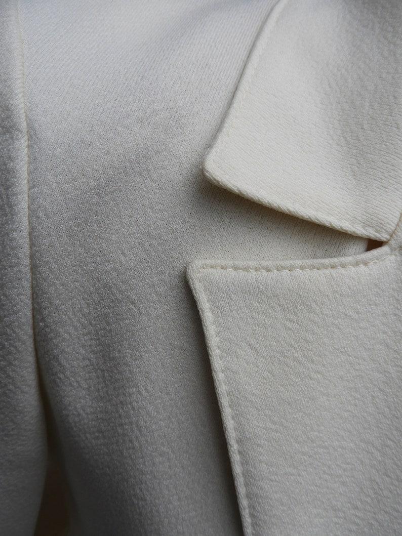 Vtg White Blazer Devon 2 Button Tailored Blazer sz SM 1970/'s Winter White Textured Polyester Blazer