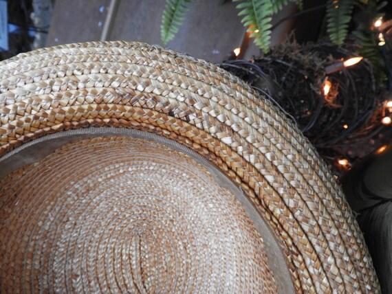 Vtg Straw Bowler Hat, Unisex Bowler Hat, Summer S… - image 10