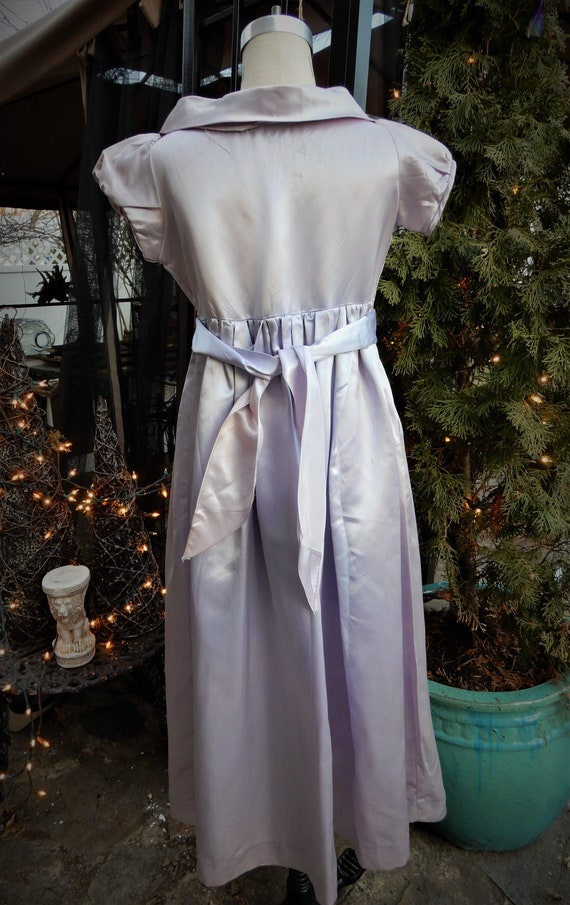 1930's Girls Satin Dress, Homemade Liquid Satin L… - image 7