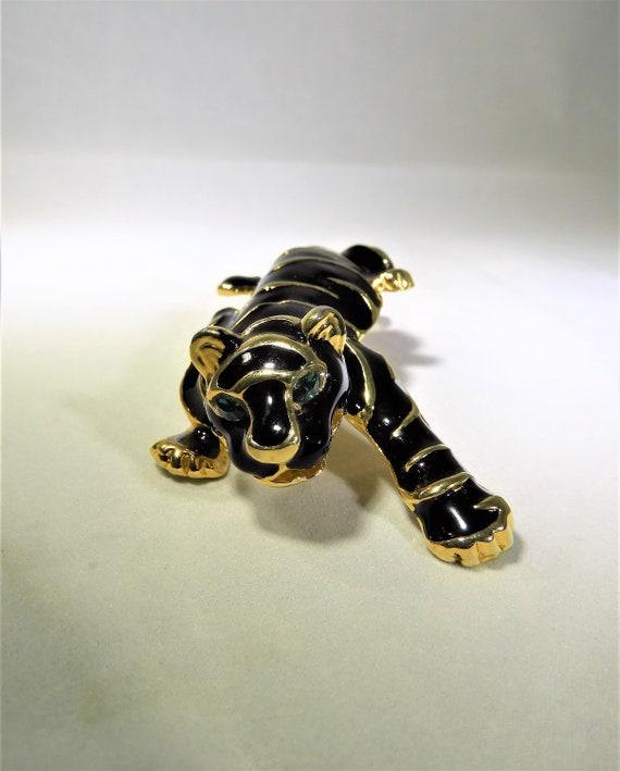 MCM  Black Panther Pin, Stalking Panther Jewelry,