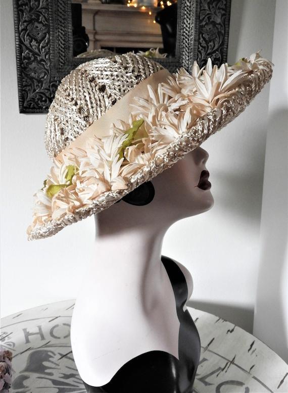 Vtg 1950's Straw Hat, Grayce Hats Stras Hat, Vtg S