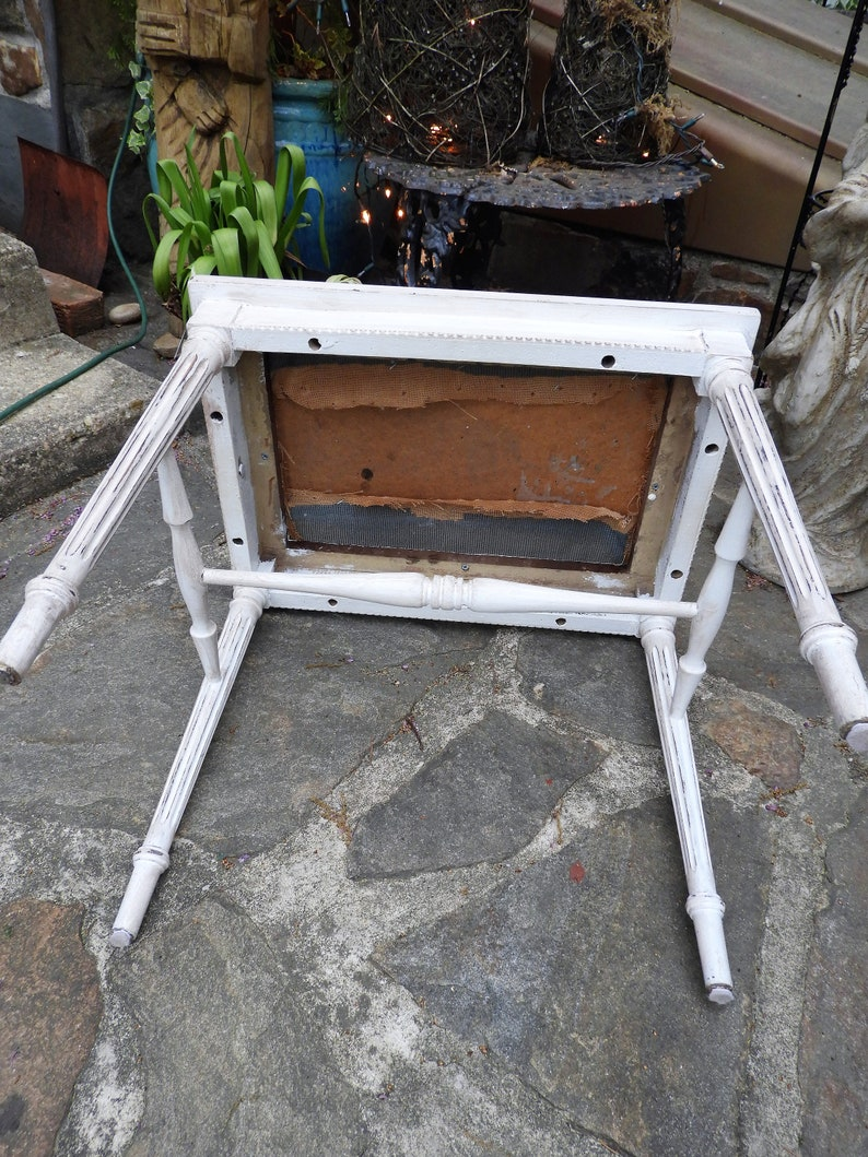 Vtg White Bench Seat Small Victorian Bench Needlepoint Bench Seat H 18 x W 20 x D 14