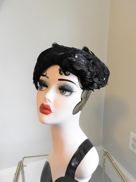 Vtg 1940's Black Feather Hat, Vtg Art Deco Black F