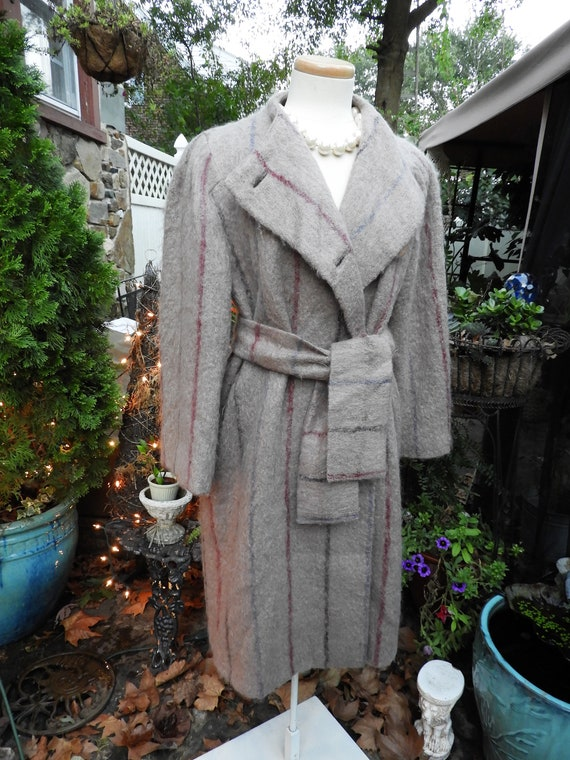 Vtg Lightweight Trench Coat, Ladies Mohair Grey Tr