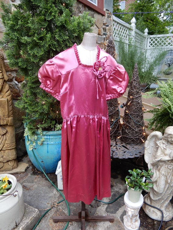 Vtg Girls Satin Dress, Dark Pink Liquid Satin Dres