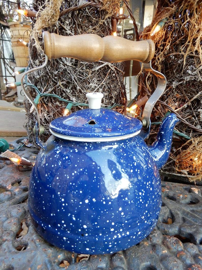 Small Cobalt Blue Enamelware Teapot Spatterware Teapot H 8 12 Vtg Blue Teapot