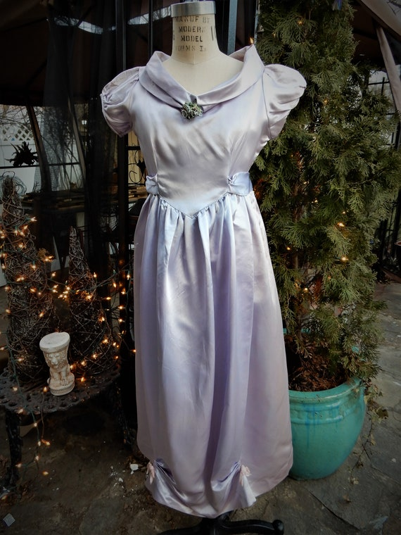 1930's Girls Satin Dress, Homemade Liquid Satin La