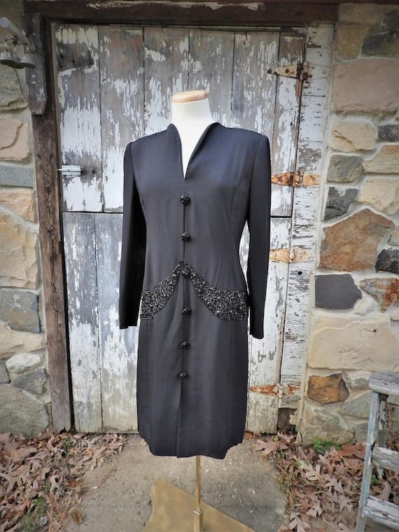 Vtg 1920's Style Dress, Black Beaded Flapper Dress