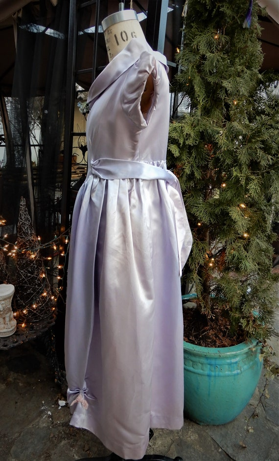 1930's Girls Satin Dress, Homemade Liquid Satin L… - image 9