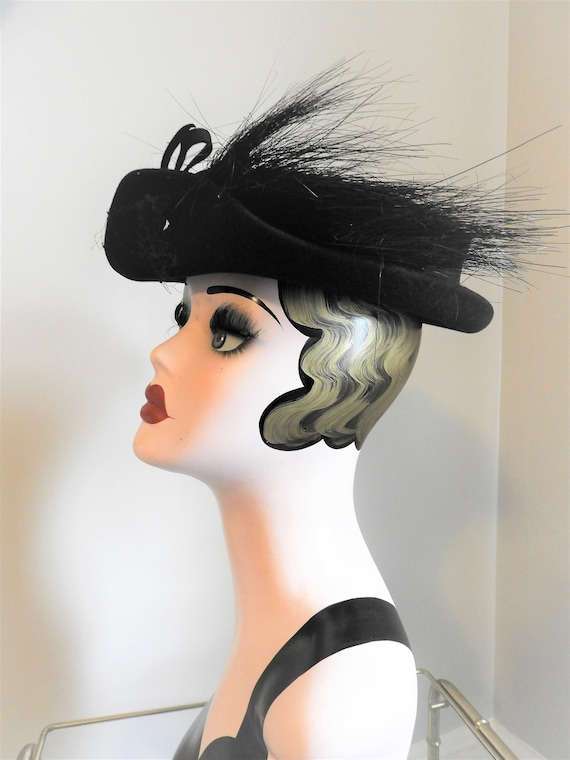 Vtg 1930's Black Felted Hat, Vtg Black High Fashio