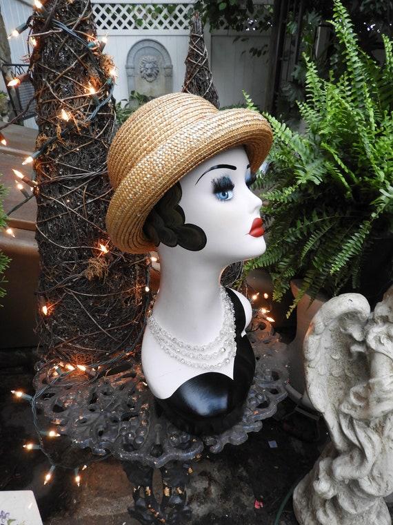 Vtg Straw Bowler Hat, Unisex Bowler Hat, Summer S… - image 2