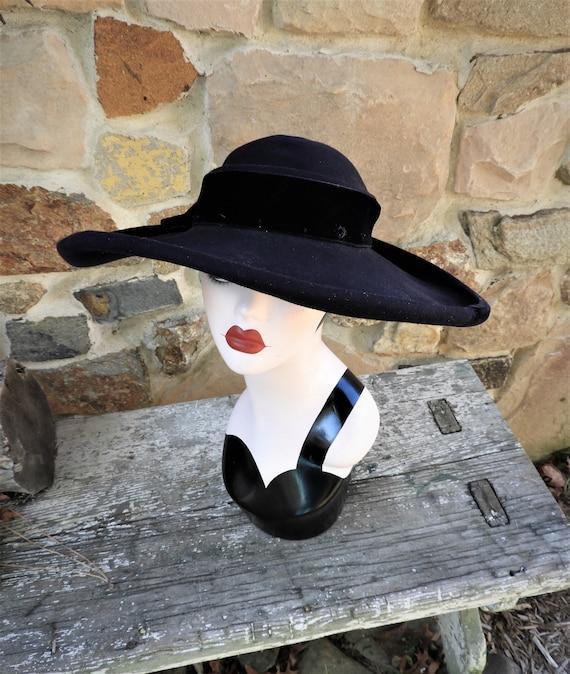 Vtg Ladies Navy Blue 1930's Hat, 1930's Cartwheel