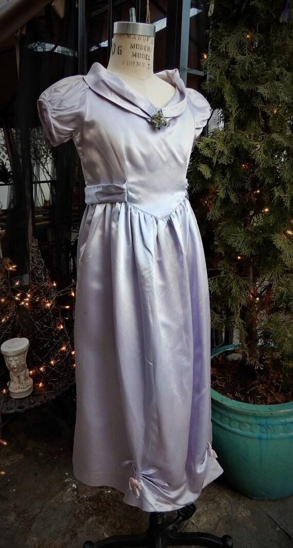 1930's Girls Satin Dress, Homemade Liquid Satin L… - image 4