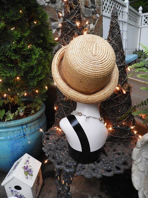 Vtg Straw Bowler Hat, Unisex Bowler Hat, Summer S… - image 9