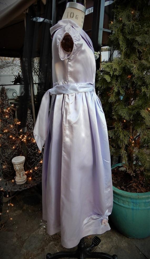 1930's Girls Satin Dress, Homemade Liquid Satin L… - image 6