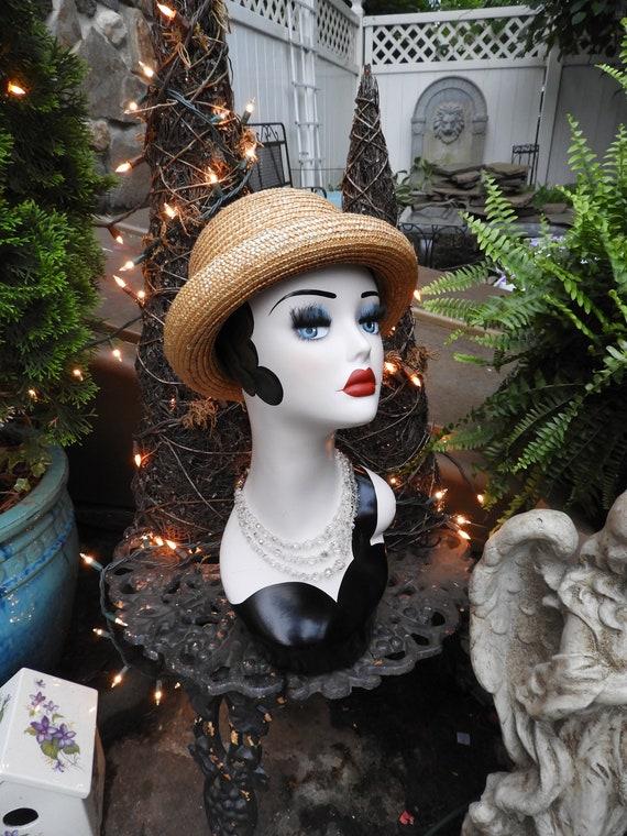 Vtg Straw Bowler Hat, Unisex Bowler Hat, Summer S… - image 3