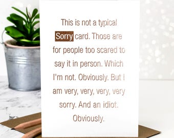 sorry card rose gold foil sorry card for saying sorry im sorry forgive me card apology card gc384