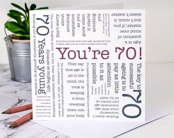 70th Birthday Card Youre 70 Happy Year Old For Grandpa GC074