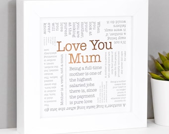 Mum Birthday Mum Quote Framed Gift Mom Mam Mummy Embellished with Genuine Crystals Mothers Day Colour and Quote Options Gift Box /& Matching Tag