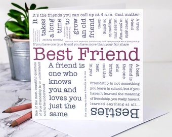 Best Friend Card Birthday Friendship Friends Quotes GC572