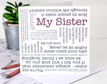 My Sister Card Birthday Big Little Personalised Sisters GC582