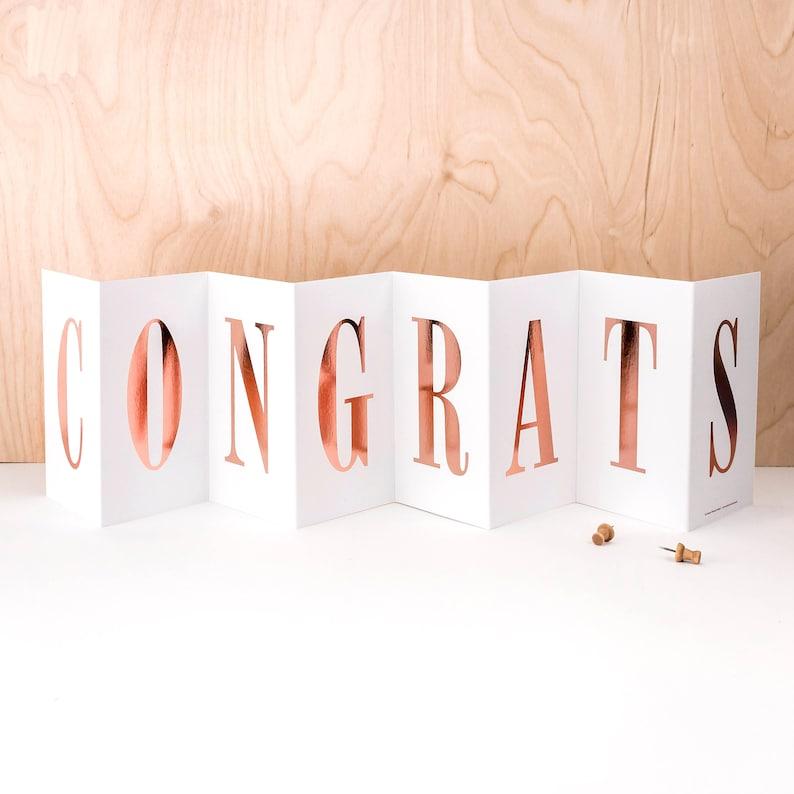 Congrats Concertina Card; Rose Gold Foil Congratulations Card; Congrats Banner Card; Congrats Card; Rose Gold Foil Congrats Card; CC020