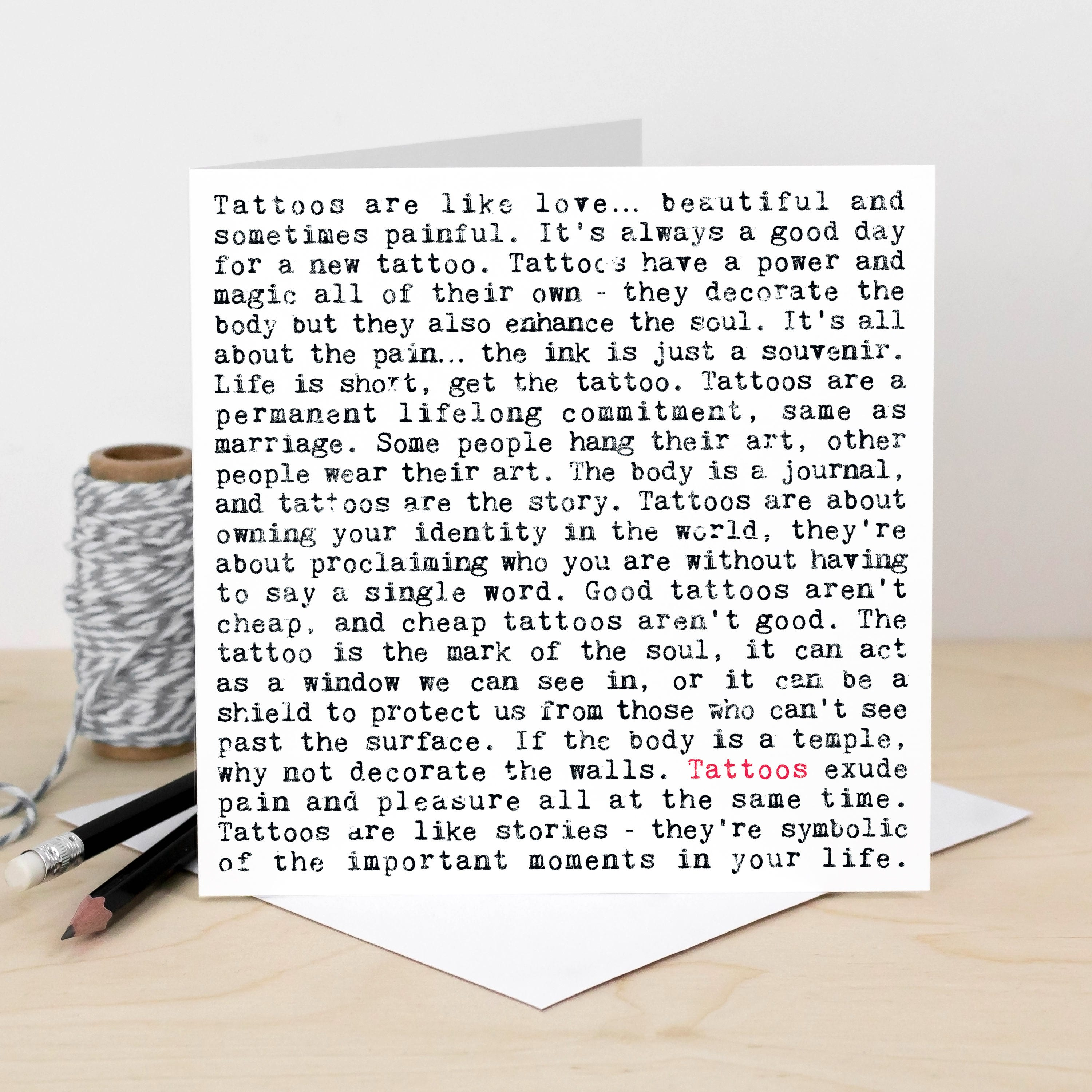 Tattoos Quotes Card Card For Tattoo Artists Loves Tattoos Etsy
