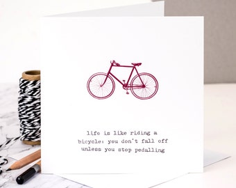 Life Is Like Riding A Bicycle Card; Funny Birthday Card; Card For Friend; Friendship Card; Bike Card; GC045