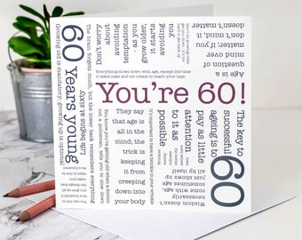 60th Birthday Card; 'You're 60!'; Happy 60th; Personalised 60th Birthday Card; 60 Years Card; Milestone Birthday; GC073