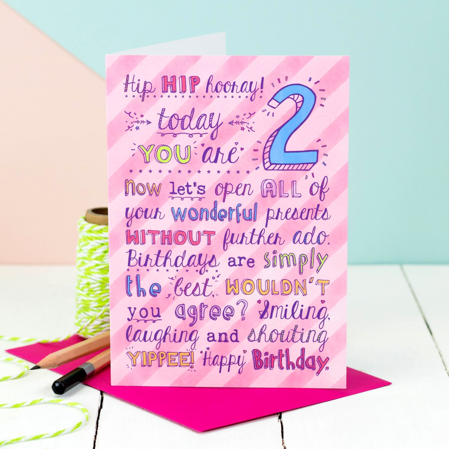 2nd Birthday Card Choice Of Pink Or Blue Card For