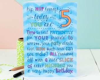 5th Birthday Card; Choice Of Pink Or Blue; Card For Five-Year-Old; Children's Age Cards;
