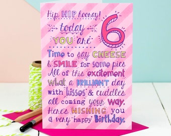 6th Birthday Card; Choice Of Pink Or Blue; Card For Six-Year-Old; Children's Age Cards;