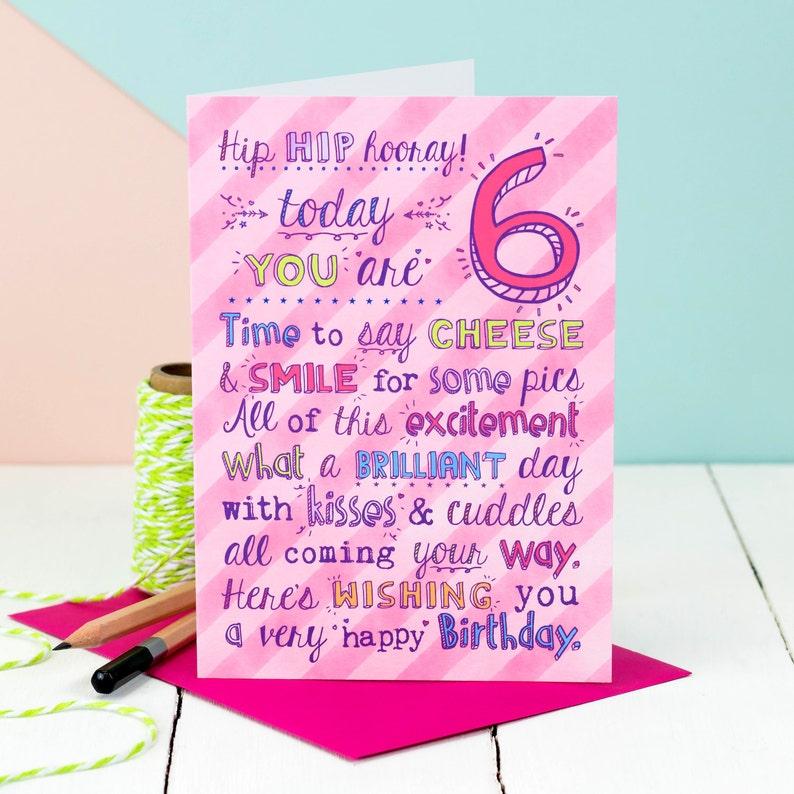6th Birthday Card Girl Boys