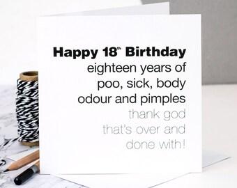 Funny 18th Birthday Card; 'Eighteen Years Of Poo…'; GC060