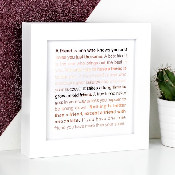 Friendship Gift - Framed Rose-Gold Foil Friend Quotes Print In Gift Box  FMS034