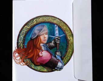 """Blank note card-""""Rose with Steel Thorns"""""""
