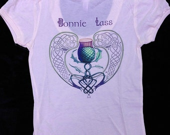 Bonnie Lass Thistle capped sleeve pink womans tshirt