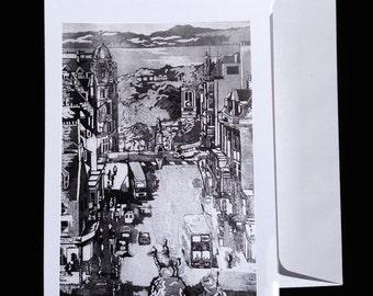 Fredricks Street-Edinburgh.  Original art by Mike Turpie for The Bonnie Lass Designs.